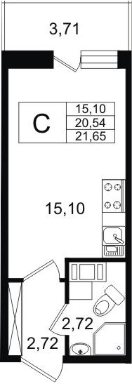 Студия, 20.54 м²– 2