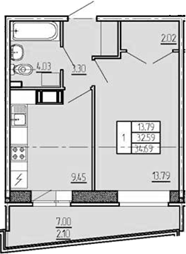 1-к.кв, 34.69 м²