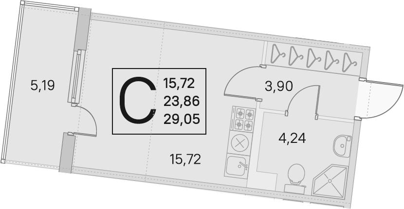 Студия, 23.86 м²– 2