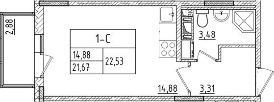 Студия, 24.55 м²