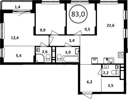 4Е-комнатная, 83 м²– 2