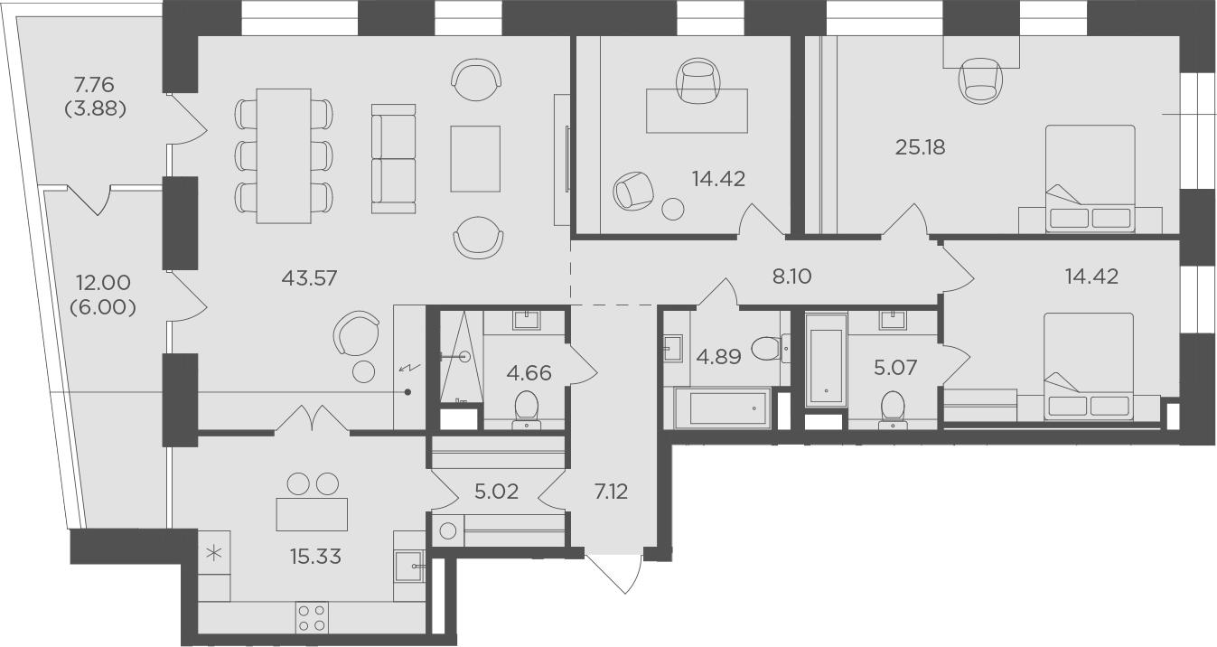 4-к.кв, 157.66 м², 13 этаж