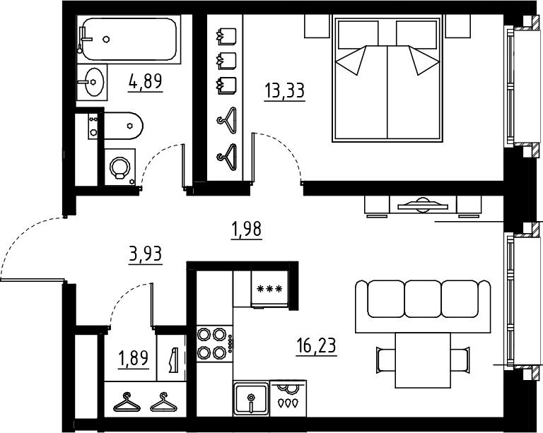 2Е-комнатная, 42.25 м²– 2