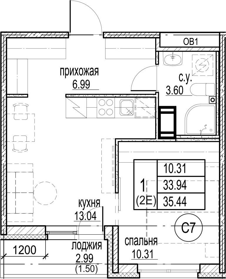 2-к.кв (евро), 36.94 м²