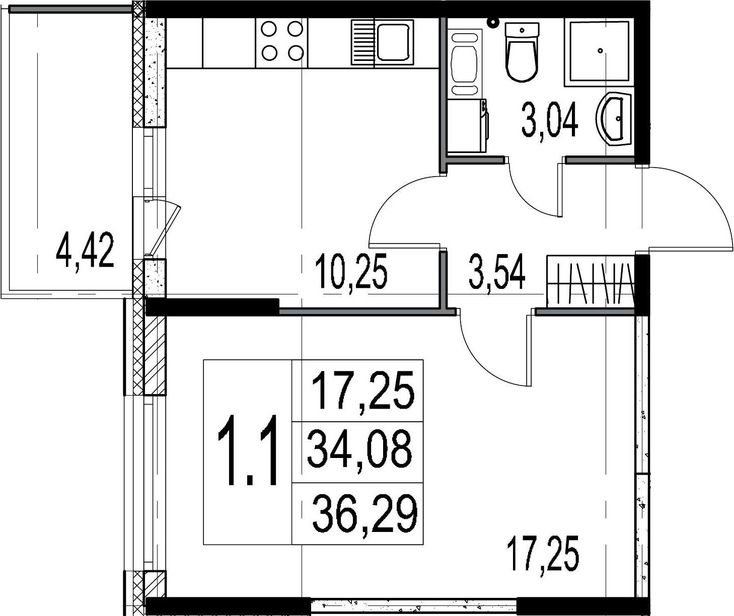 1-к.кв, 38.5 м²