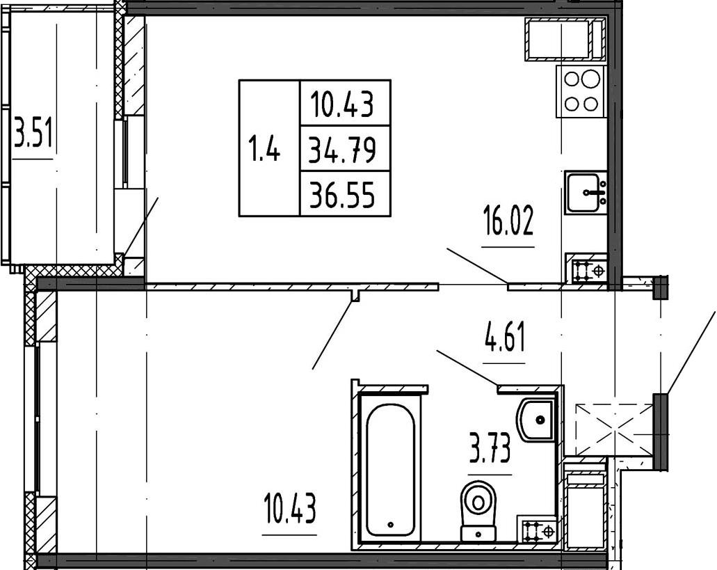 2Е-к.кв, 34.79 м²