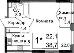 Студия, 38.7 м²– 2