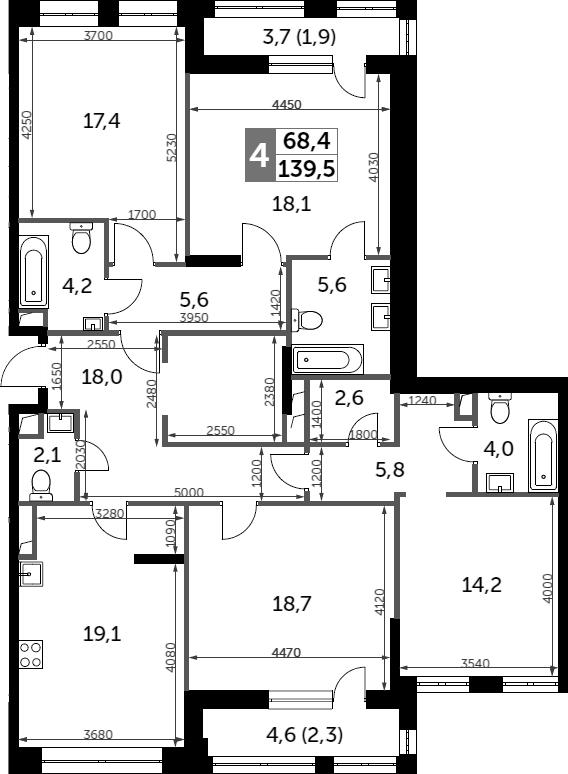 4-к.кв, 139.5 м²