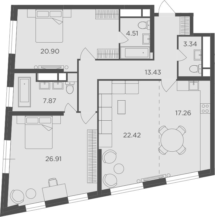 3-к.кв, 116.64 м²