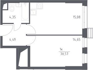2Е-комнатная, 38.57 м²– 2
