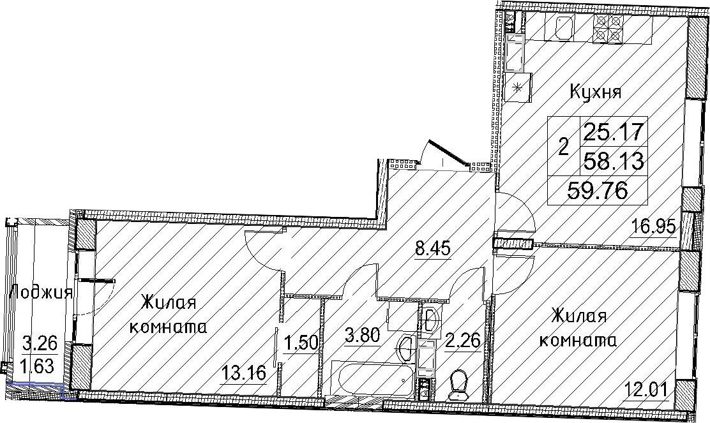 3-к.кв (евро), 61.39 м²