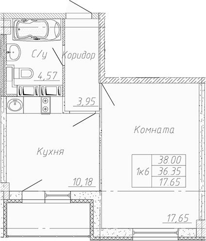 1-к.кв, 39.65 м²