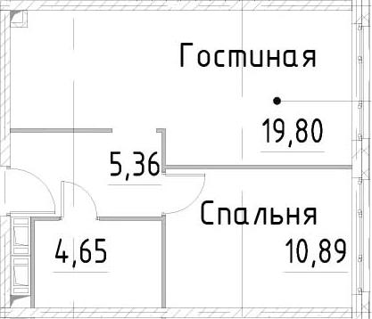 2Е-комнатная, 40.69 м²– 2