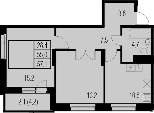 2-к.кв, 57.1 м²