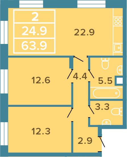 3-к.кв (евро), 63.9 м²