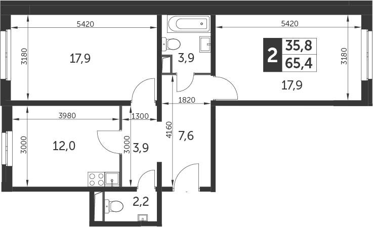 2-к.кв, 65.4 м²