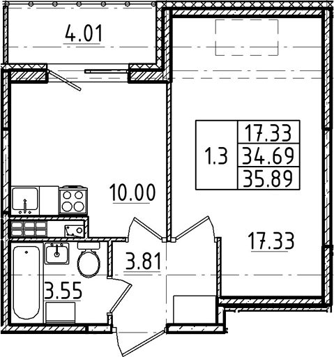 1-к.кв, 34.69 м², 5 этаж