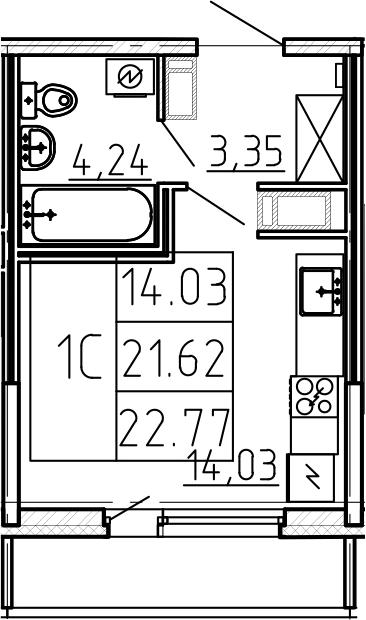 Студия, 25.45 м²