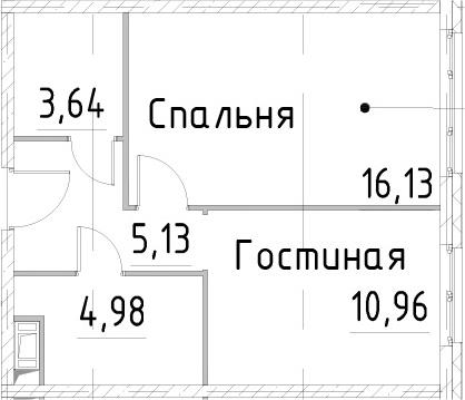 1-к.кв, 40.83 м²