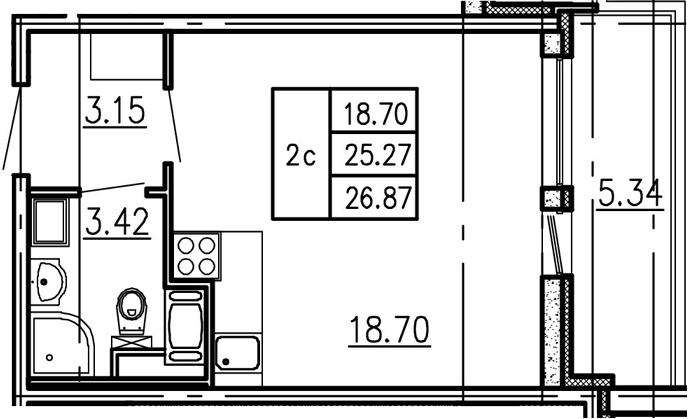 Студия, 25.27 м²