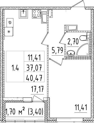 2Е-к.кв, 37.07 м²