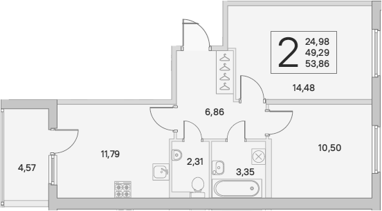 2-к.кв, 51.58 м²