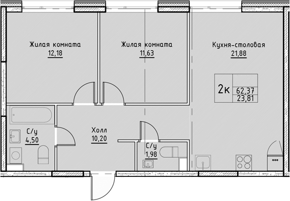 3Е-комнатная, 62.37 м²– 2
