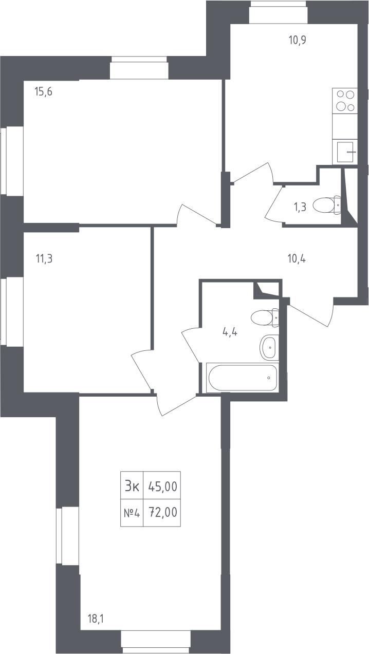 3-к.кв, 72 м²