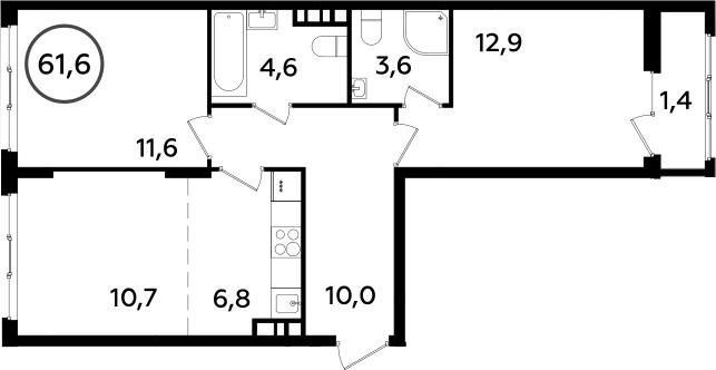 3Е-комнатная, 61.6 м²– 2