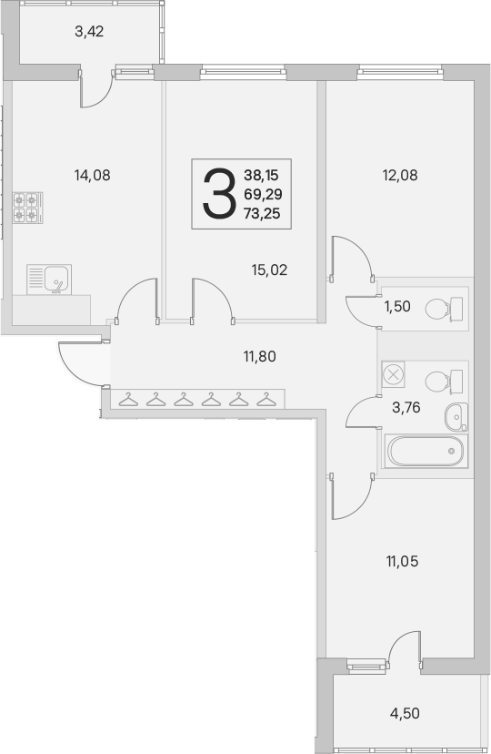 3-к.кв, 69.29 м²