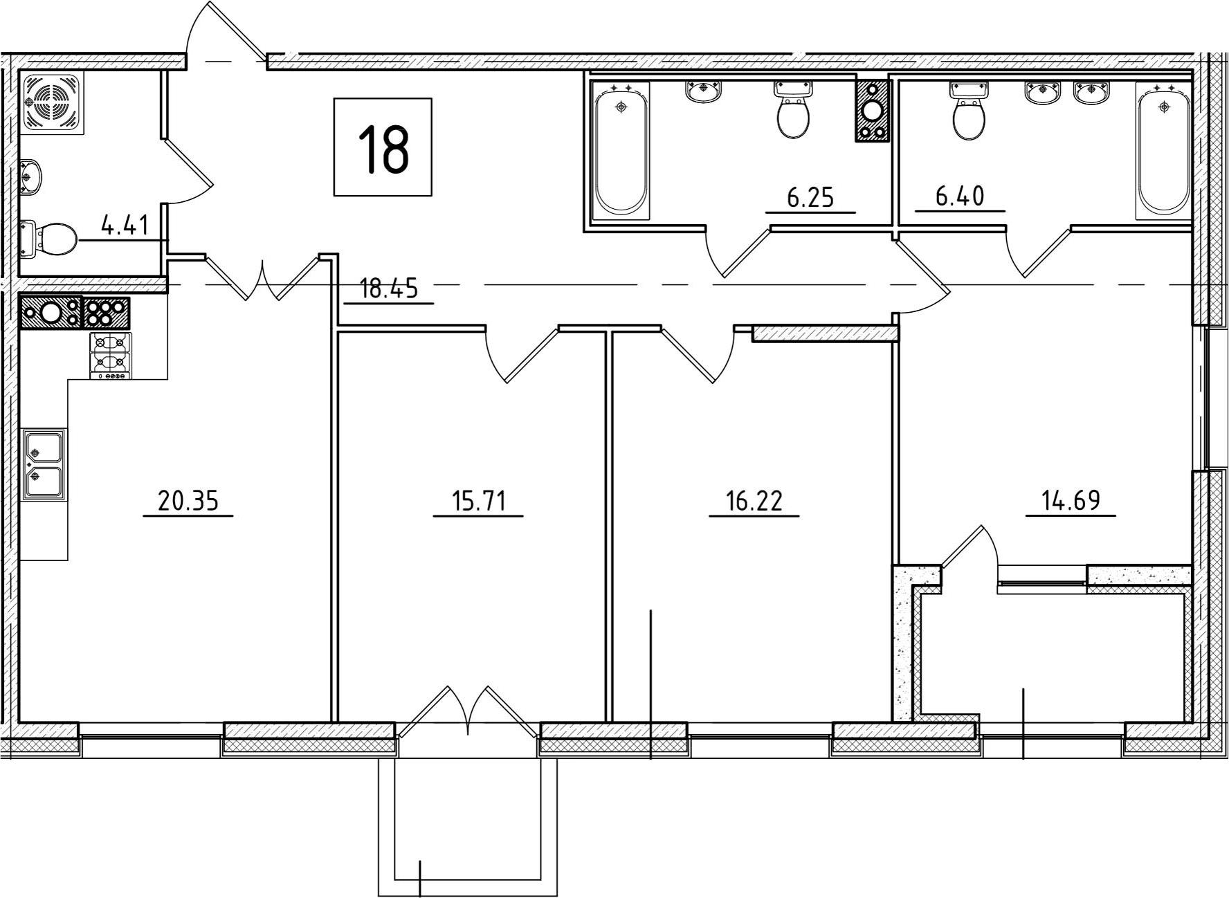4Е-к.кв, 105.82 м², 6 этаж