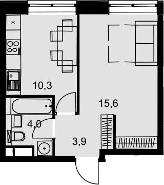 1-к.кв, 33.8 м², 11 этаж
