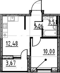 1-к.кв, 31.12 м², от 4 этажа