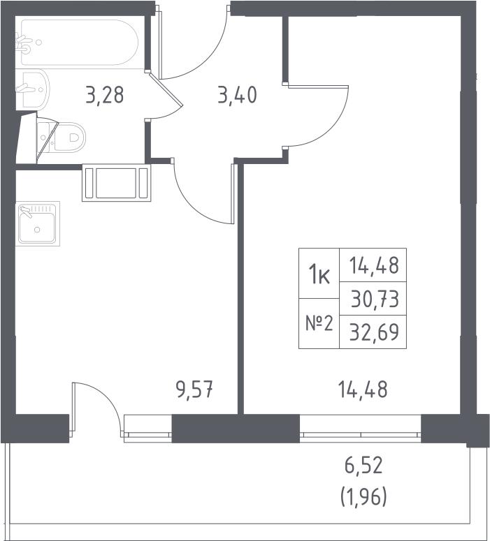 1-к.кв, 32.69 м², от 10 этажа