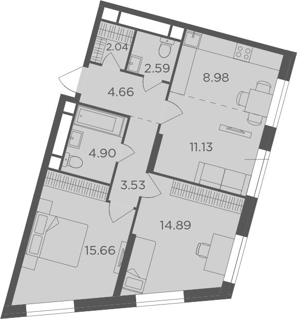 3Е-комнатная, 68.38 м²– 2