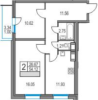 2-к.кв, 54.12 м²