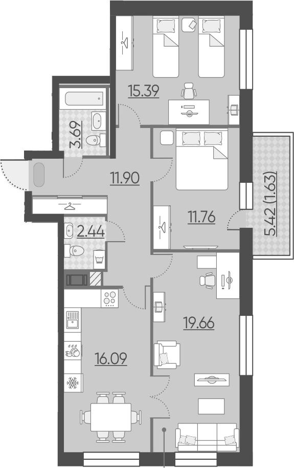 3-к.кв, 86.36 м²