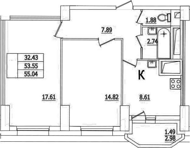 2-комнатная, 55.04 м²– 2