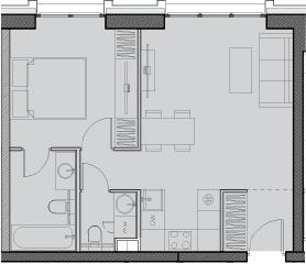 Свободная планировка, 44.3 м²– 2