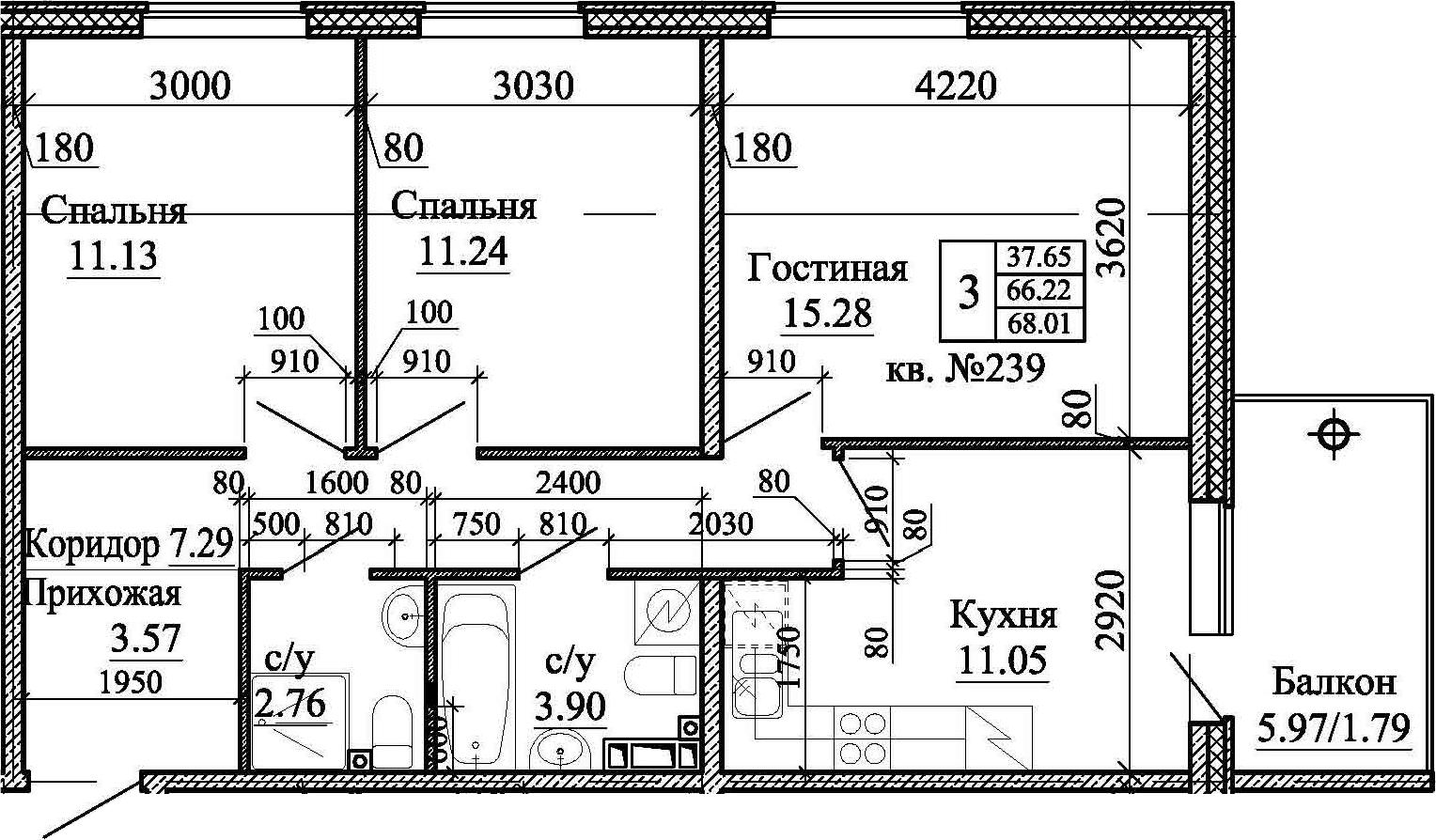 3-к.кв, 68.01 м²