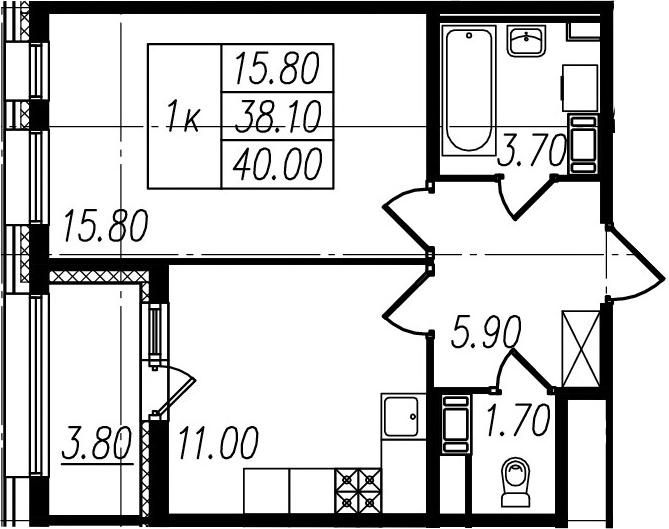1-к.кв, 38.1 м², 10 этаж