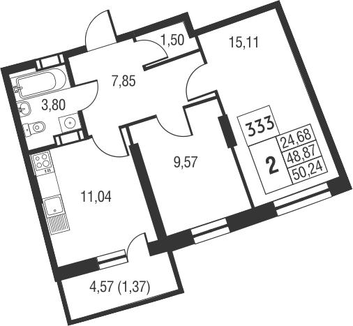 2-комнатная, 50.24 м²– 2