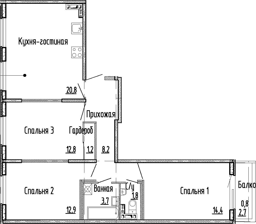4Е-к.кв, 75.8 м², 4 этаж