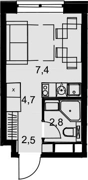 Студия, 17.4 м²