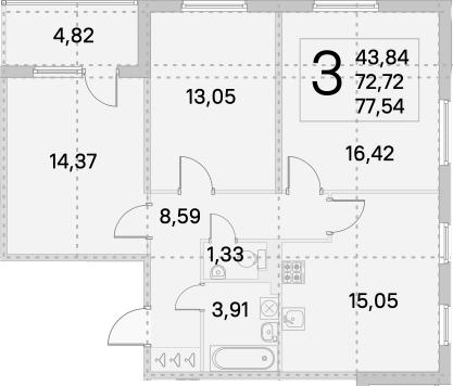 4Е-к.кв, 75.13 м², от 3 этажа