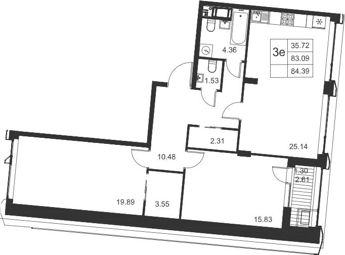 3-к.кв (евро), 85.69 м²