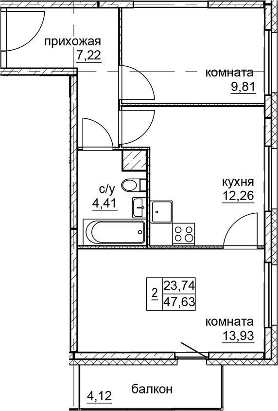 2-к.кв, 47.63 м²