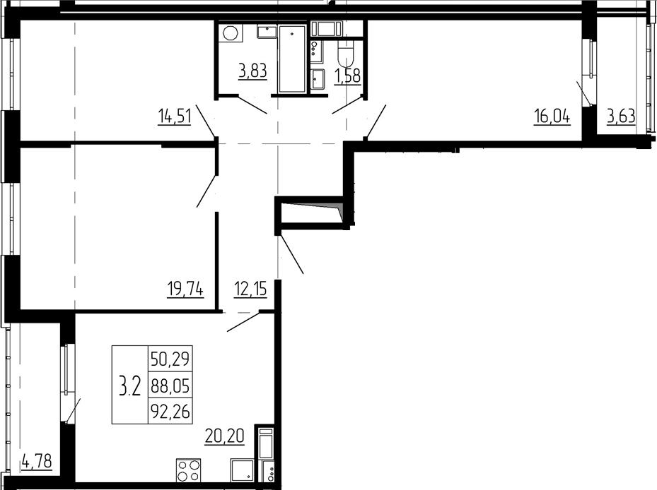 4Е-к.кв, 88.05 м²