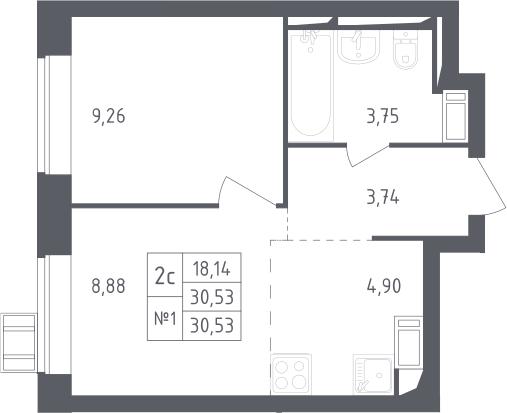 2Е-к.кв, 30.53 м²