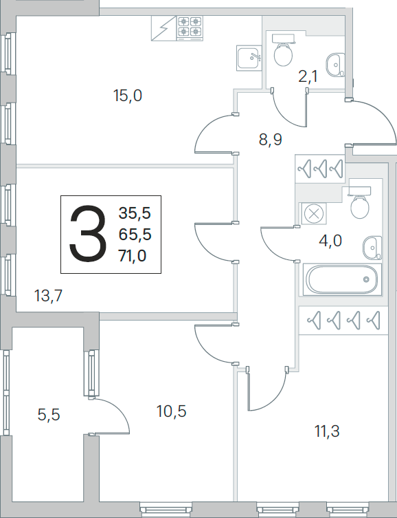 4Е-комнатная, 65.5 м²– 2